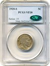 Image of 1920-S 5c PCGS/CAC VF30