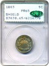 Image of 1883 Shield 5c PCGS/CAC Proof 65 - OGH Rattler Holder  - No Reserve!