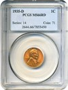 Image of 1935-D 1c PCGS MS66 RD