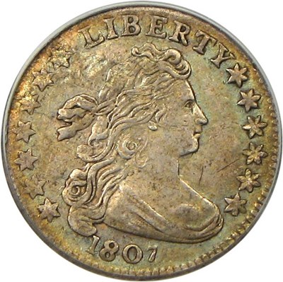 Image of 1807 10c PCGS VF30 OGH - Desirable type coin