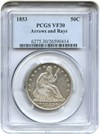 Image of 1853 50c PCGS VF30 (Arrows & Rays)