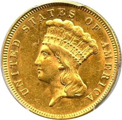 Image of 1874 $3 PCGS/CAC AU58