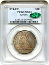 Image of 1874-CC 50c PCGS/CAC MS63 (Arrows) - Significant Carson City Mint Rarity