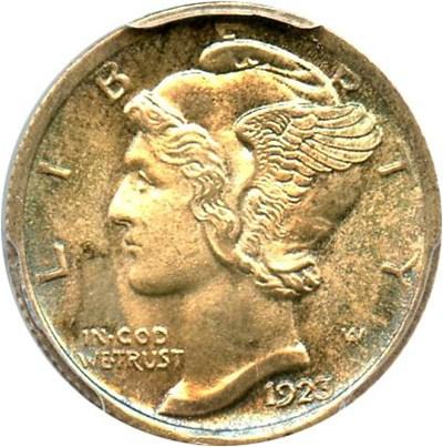 Image of 1923 10c PCGS MS67 FB