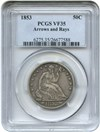Image of 1853 50c PCGS VF35 (Arrows & Rays) - Popular type coin