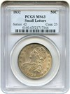 Image of 1832 50c PCGS MS63 (Small Letters)