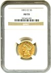 Image of 1892-CC $5 NGC AU55  - Carson City Gold Coin
