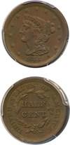 Image of 1855 1/2c PCGS/CAC AU53