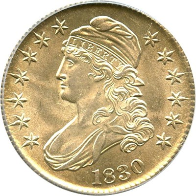 Image of 1830 50c PCGS MS64 (Small 0)