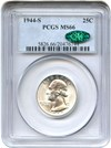 Image of 1944-S 25c PCGS/CAC MS66