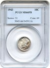 Image of 1943 10c PCGS MS66 FB - Beautiful Pastel Toning