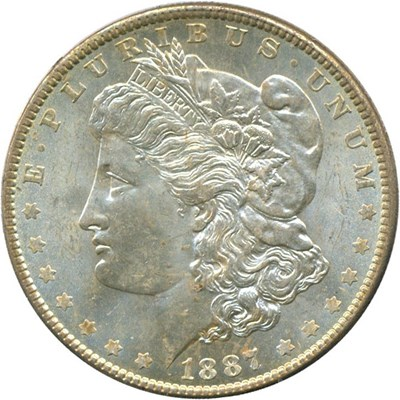 Image of 1887/6 $1 PCGS/CAC MS64 - Rattler holder