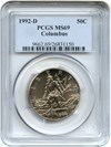 Image of 1992-D Columbus 50c PCGS MS69 - Unreserved Lot!