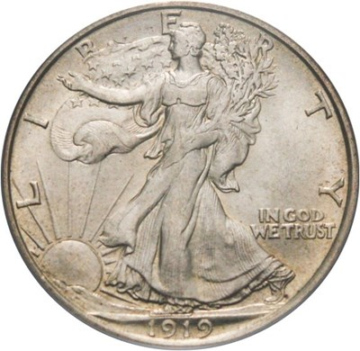 Image of 1919-D 50c PCGS MS64 - Key Date Walking Liberty Half - No Reserve!