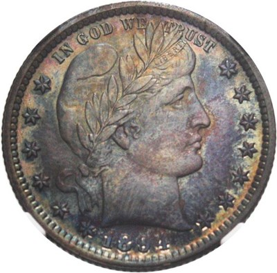 Image of 1894 25c NGC/CAC MS65 - Colorful Toning - No Reserve!