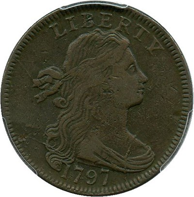 Image of 1797 1c PCGS VF25 (Reverse of 1797, With Stems)
