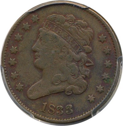 Image of 1833 1/2c PCGS F15