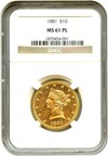 Image of 1881 $10 NGC MS61 PL