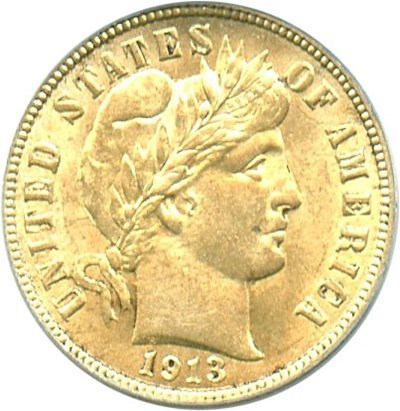 Image of 1913 10c PCGS MS63 OGH