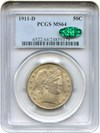 Image of 1911-D 50c PCGS/CAC MS64 - No Reserve!