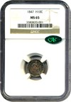 Image of 1847 H10c NGC/CAC MS65 - Colorful Toning - No Reserve!