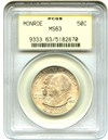 Image of 1923-S Monroe 50c PCGS MS63 OGH