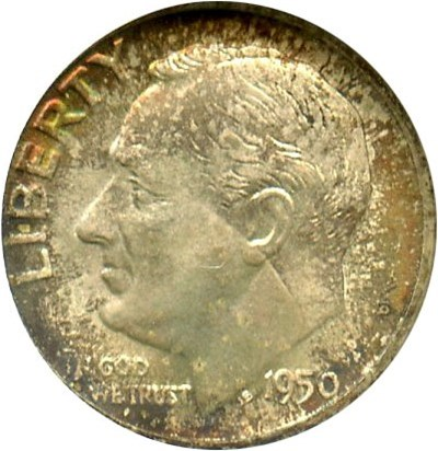 Image of 1950-D 10c NGC MS67 - Pretty Toning - No Reserve!