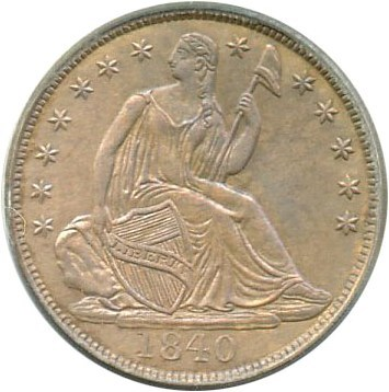 Image of 1840 H10c PCGS MS63 (No Drapery) OGH