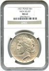 Image of 1921 Peace $1 NGC MS62 (High Relief) - Key Date