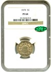 Image of 1878 5c NGC/CAC Proof 64 - Proof Only Issue - No Reserve!