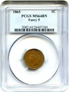 Image of 1865 1c PCGS MS64 BN (Fancy 5)