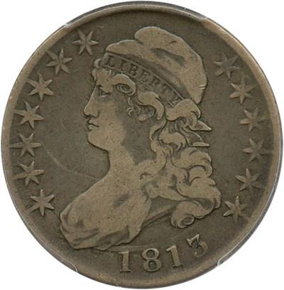 Image of 1813 50c PCGS F12 (50C/UNI, Overton 101a) Scarce Variety