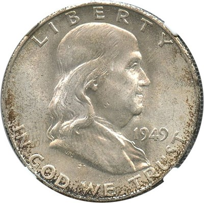 Image of 1949-S 50c NGC MS66 - Pretty Reverse Toning - No Reserve!