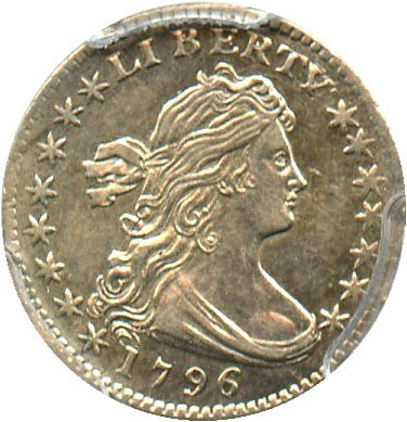 Image of 1796 H10c PCGS AU50 (LIKERTY, LM-1) - Very Scarce Draped Bust Half Dime