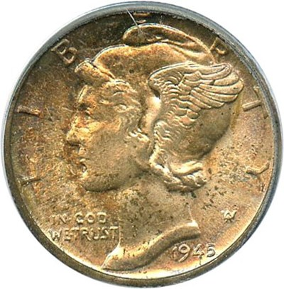 Image of 1945-D 10c PCGS MS66 FB
