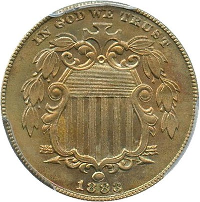 Image of 1883 Shield 5c PCGS/CAC Proof 64 - Pretty Toning - No Reserve!