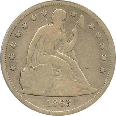 Image of 1863 $1 PCGS VG-8 - Low Mintage Civil War era Seated Dollar