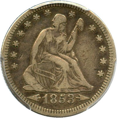 Image of 1853 25c PCGS VF25 (Arrows & Rays)