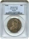 Image of 1830 50c PCGS F15 (Small O, O-109)
