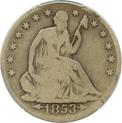 Image of 1853 50c PCGS Good-6 (Arrows & Rays)