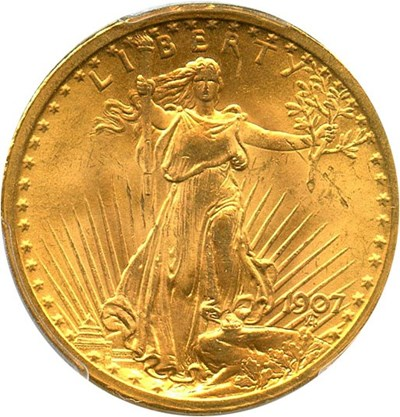 Image of 1907 Saint Gaudens $20 PCGS MS64