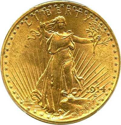 Image of 1914-S $20 PCGS MS62