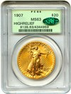 Image of 1907 High Relief $20 PCGS/CAC MS63 (Wire Edge) OGH