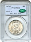 Image of 1943-D 50c PCGS/CAC MS66