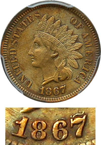 Image of 1867/67 1c PCGS Genuine XF Details, Tooled (Doubled Die)