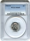 Image of 1943-D 1c PCGS MS65