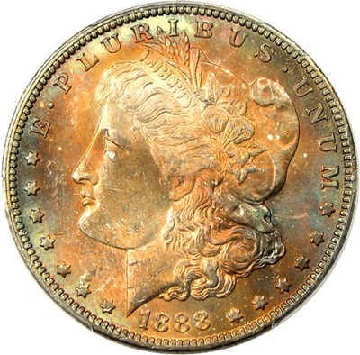 Image of 1888-O $1 PCGS MS64 - Colorful Toning