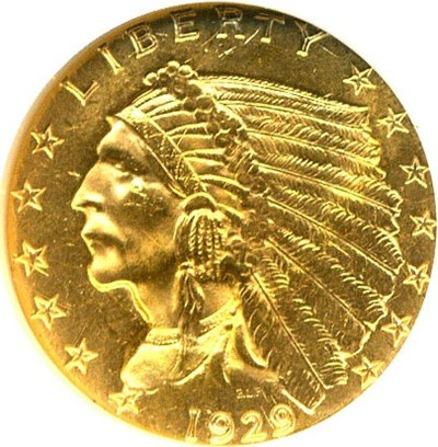 Image of 1929 $2 1/2 NGC/CAC MS63