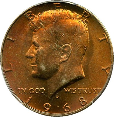 Image of 1968-D 50c PCGS MS65 - Colorful Toning