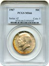 Image of 1967 50c PCGS MS66 - Gorgeous Colorful Toning